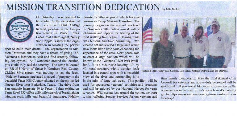 Mission Transition Dedication Article